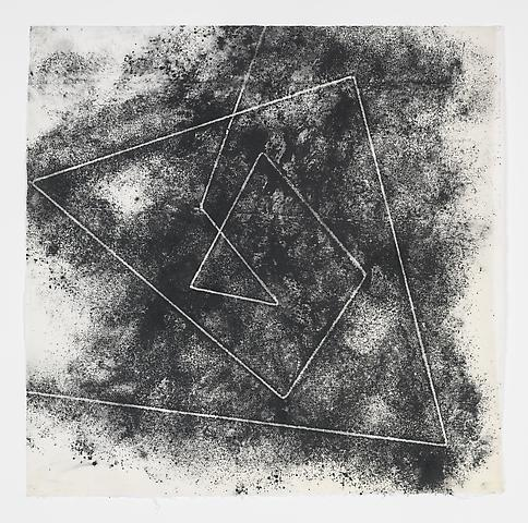 Jack Whitten, Target (In & Out) #6 (2011) Magnetite and acrylic on rice paper 16.75h x 16.88w in (42.55h x 42.88w cm)