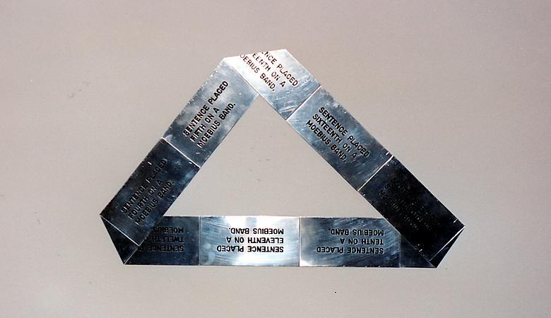 Moebius Strip (1973) Engraved aluminum 27.6h x 27.6w in (70.1h x 70.1w cm)