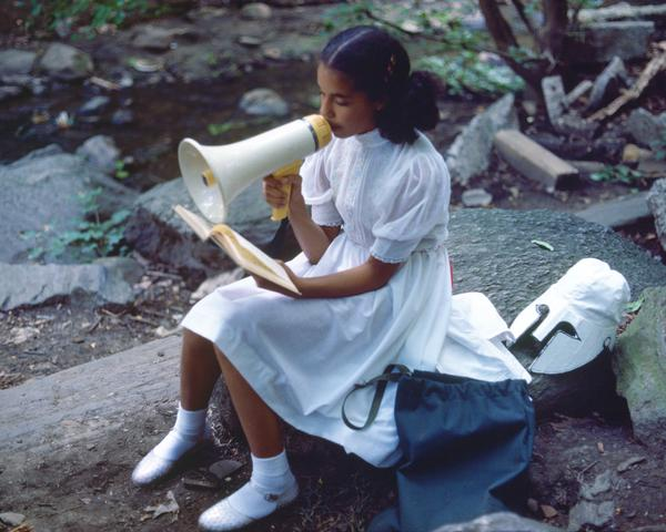 Rivers, First Draft: A Little Girl with Pink Sash memorizes her Latin lesson (1982/2015) Digital C-print from Kodachrome 35mm slides in 48 parts, 16h x 20w in (40.6h x 50.8w cm) Edition of 8 with 2 AP