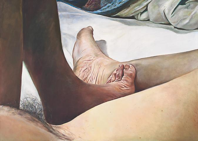For Foot Fetishists (1977) Oil on canvas 36h x 50w in (91.44h x 127w cm)