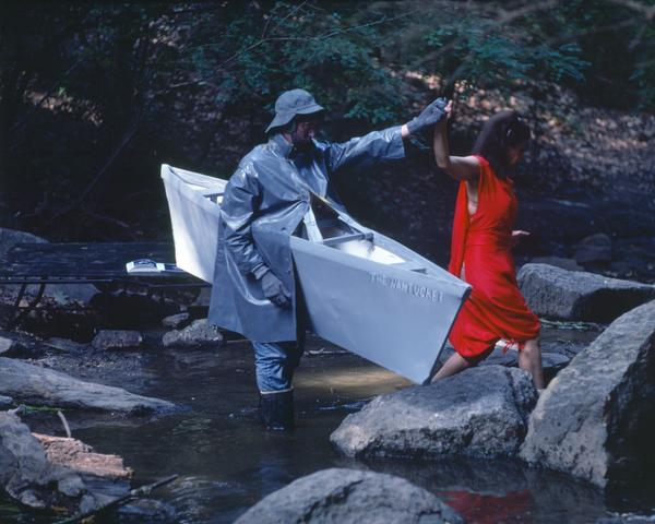Rivers, First Draft: The Nantucket Memorial guides the Woman in Red to the other side of the stream (1982/2015) Digital C-print from Kodachrome 35mm slides in 48 parts, 16h x 20w in (40.6h x 50.8w cm) Edition of 8 with 2 AP