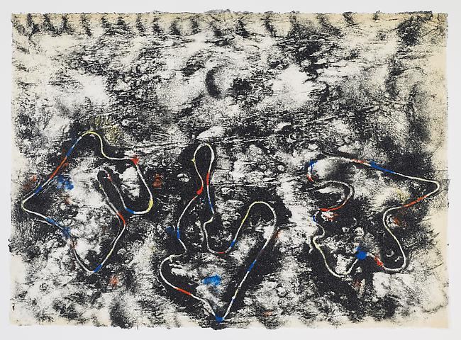 Closed Loops #1 (2012) Black Cat and acrylic on rice paper 21h x 29w in (53.34h x 73.66w cm)