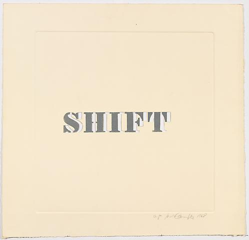 Luis Camnitzer; Shift (1968) Etching on paper; 23h x 23w in (58.42h x 58.42w cm) Intended edition of 50, Executed edition of 10 with 1 AP