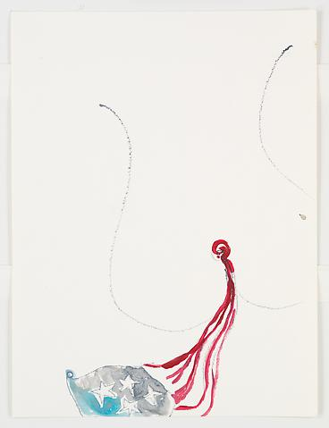 Dreams of Laura Bush (Flag)  (2006) Graphite and watercolor on paper  9h x 12w in (22.86h x 30.48w cm)