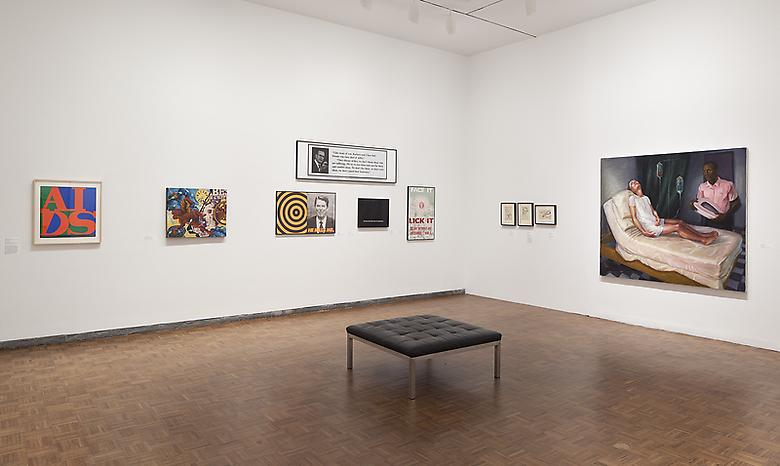Right: Hugh Steers, Bed Pan (1994) Installation view Whitney Museum of American Art (2013)