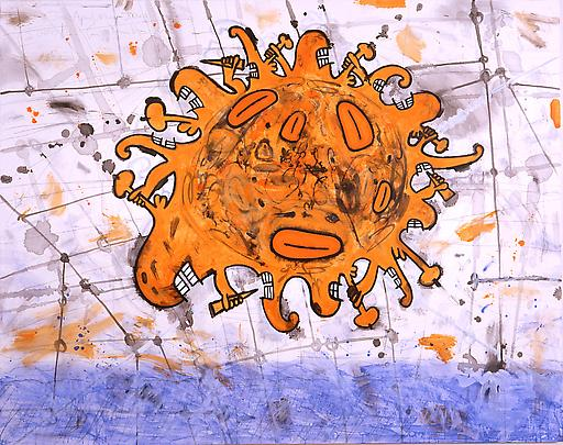 Sunny 1999-2000 48 x 58 inches Mixed media on linen