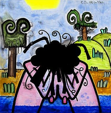 Bather (One) 2009 71 x 71 inches Mixed media on canvas