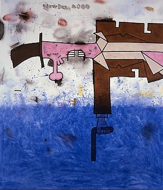 Killer Over Water  2000-01 96 x 84 inches Mixed media on linen