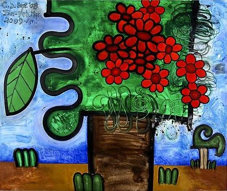 Tree with Red Flowers 2009 75 x 90 inches Mixed media on linen