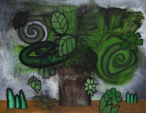 Green Flowers (4) 2010 Mixed media on linen 51 x 66 inches  129.54 x 167.64 cm