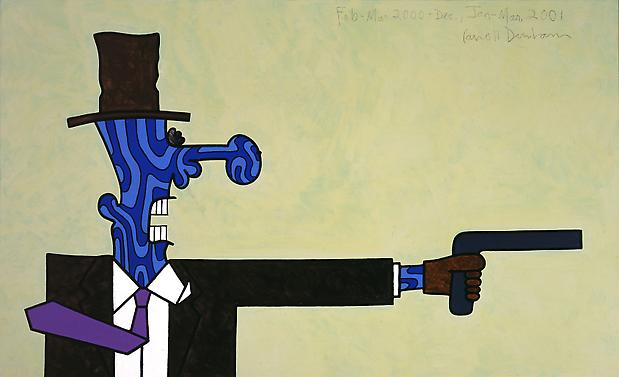 Blue Killer 2000-01 50 x 82 inches Mixed media on linen