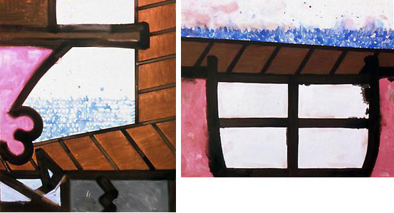 Rotation/Ocean (C) 2004 98 3/4 x 179 1/2 inches Mixed media on linen in two parts, diptych