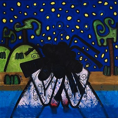 Bather / Night 2009 71 1/8 x 71 1/8 inches Acrylic on canvas