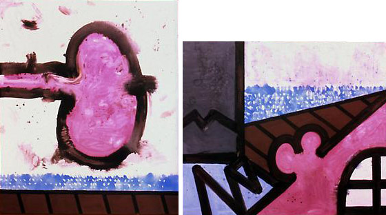 Rotation/Ocean (A) 2004 98 3/4 x 179 1/2 inches Mixed media on linen in two parts, diptych