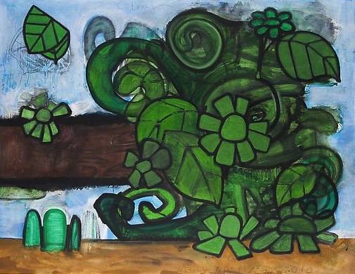 Green Flowers (2) 2010 Mixed media on linen 51 x 66 inches  129.54 x 167.64 cm