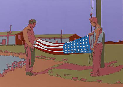 "LISA RUYTER Russell Lee ""Rupert, Idaho. Former CCC (Civilian Conservation Corps) camp now under FSA (Farm Security Administration) management. Japanese-Americans taking down their flag in the evening"" 2011, acrylic on canvas, 39 x 55 inches"