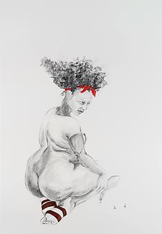 ZOË CHARLTON Cousin 1 (from Tallahassee Lassies) 2008, graphite and gouache on paper, 60 x 40 inches