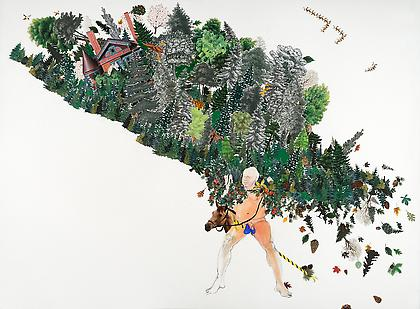 ZOË CHARLTON Fort Mose 2012, collage and gouache on paper, 22 x 30 inches