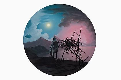 JOHN STARK The Fall 2010, oil on panel, 20 inch diameter