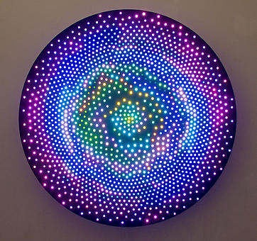 Leo Villareal Big Bang 2008, 1600 LEDs, mac mini, circuitry and anodized aluminum, 5 feet-diameter, edition: 3. Contact gallery for details/video.
