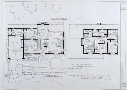 MARK BENNETT Home of Elmer and Francine Fishpaw (Polyester) 2007, India ink and graphite on vellum, 30 x 42 inches