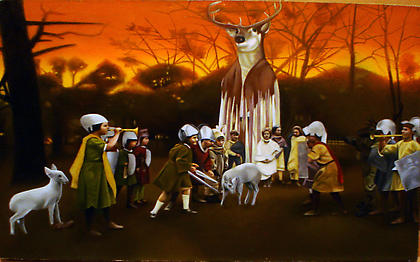 James Swainbank (Maryland Institute College of Art) <i>The Benevolent Elk</i> 2008, oil on Linen, 9 x 12 inches