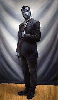 KYLE HACKETT Approbations Portrait 2013, oil on panel, 80 x 47 inches