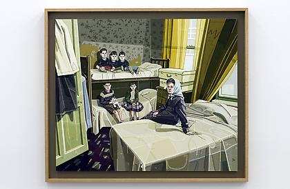 JULIE ROBERTS Digs (homeless family after Don McCullin) 2012, oil on linen, 40.5 x 40.5 inches