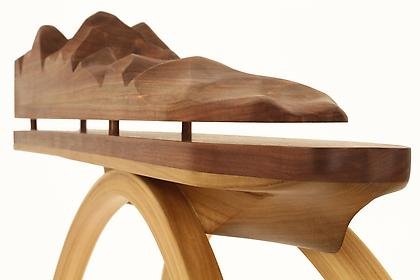 JEREMIAH HOLLAND Wall Table #2 (detail) 2012, black walnut, poplar, 52 x 46 x 13 inches