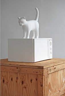 KENNY HUNTER Cat with microwave 2012, polyester resin, paint, 31.5 x 18 x 21.5 inches