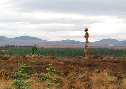 KENNY HUNTER The Unknown 2012, installation view, Borgie Forest, Scotland