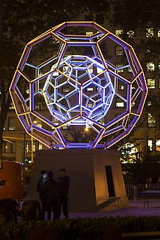 LEO VILLAREAL Buckyball 2012, LEDs, custom software, electrical hardware, metal armature, sculptural base 360 x 240 x 240 inches, unique Installation view - Madison Square Park, New York, NY