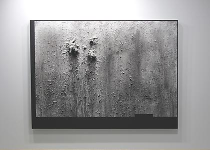 RYAN McCOY August 2012 2012, sea-water, pine needles, ash, rust, baby powder, and acrylic on canvas, 71 x 94 inches