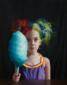 KATIE MILLER Girl with Bright Colored Hair 2013, oil on panel, 20 x 16 inches