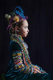KATIE MILLER A Young Lady Adorned with Beads 2013, oil on panel, 40.5 x 27.25 inches.