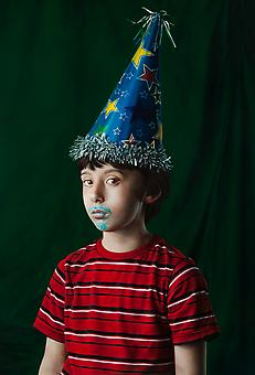 KATIE MILLER Youth in a Party Hat 2013, oil on panel, 34 x 23 inches