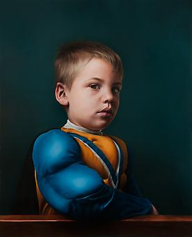KATIE MILLER Boy with a Muscled Sleeve 2014, oil on panel, 28 x 22.75 inches.