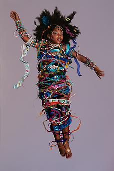 KATIE MILLER Girl Bound in Ribbons and Beads 2014, oil on panel, 72 x 48 inches.