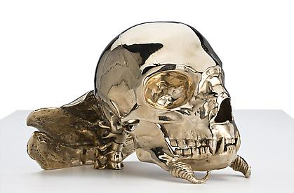 PATRICIA PICCININI Not Quite Animal II (Transgenic skull for the Bodyguard) 2008, bronze, 9.5 x 8.5 x 6 inches