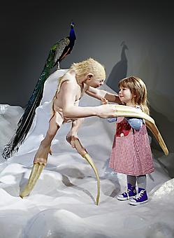 PATRICIA PICCININI The Welcome Guest 2011, Silicone, fibreglass, human and animal hair, taxidermied peacocks Dimensions variable