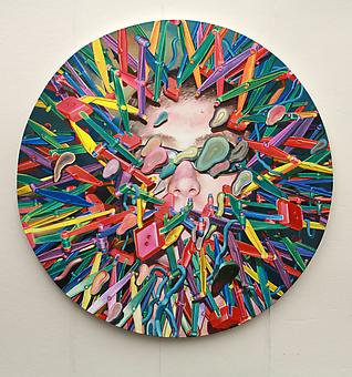 JASON RESSLER Solace in the Hyper-Sphere 2011-12, oil on canvas, 75 inch diameter