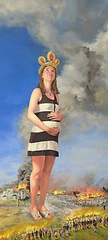 NATHANIEL ROGERS Expectant 2013, oil on panel, 16 x 7.5 inches
