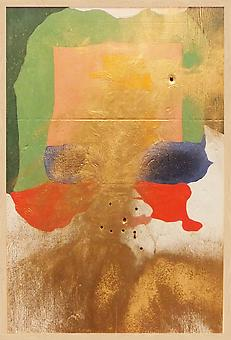 SAMUEL  SCHARF + RYAN CARR JOHNSON Frankenthaler A.D. 2012, paint on Plywood with bullet holes, 37 x 25 x 2.5 inches