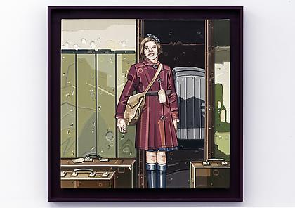 JULIE ROBERTS The Kinder Transport/New Dawn 2013, Oil on linen, 24 x 24 inches (27.75 x 27.75 framed) In custom, artist designed frame.