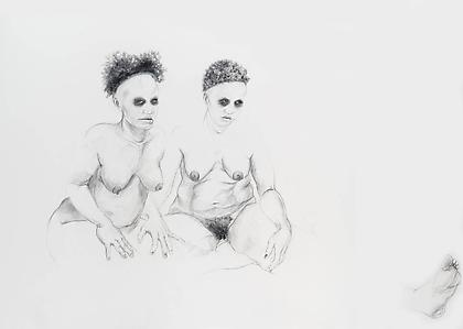 Zoë Charlton Cousin 7 2008, graphite and gouache on paper, 52 x 72 inches.