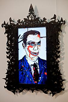 Dick Richman, Portrait of a Scam Artist 2011, video-animation with artist-designed frame and LCD panel, 45 x 30 inches, edition: 7