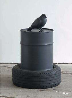 KENNY HUNTER The Wasteland 2008, resin, oil can, jesmonite, paint, 88 x 63 x 63 cm, edition:3