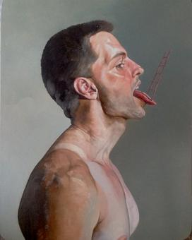 ERIK THOR SANDBERG Matter of Taste I (diptych)  2014, oil on panel, 18 x 14 inches