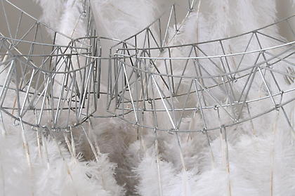 Meg Mitchell (University of Maryland) <i>Embodied Transcendence / Blast-off (in miniature)</i> - 2008, Steel wire, ostrich feathers, 48 x 48 inches
