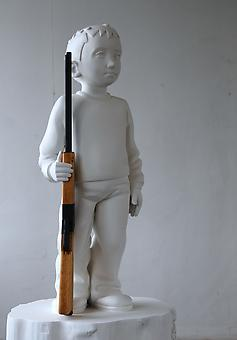 KENNY HUNTER Boy with rifle 2012, polyester resin, acrylic resin, wood, paint, 54 x 29.5 x 29.5 inches